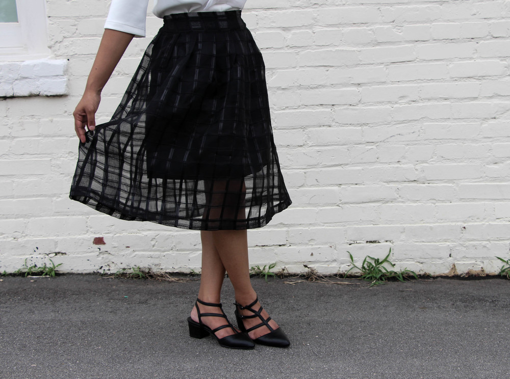 Asos Mesh Check Midi Skirt
