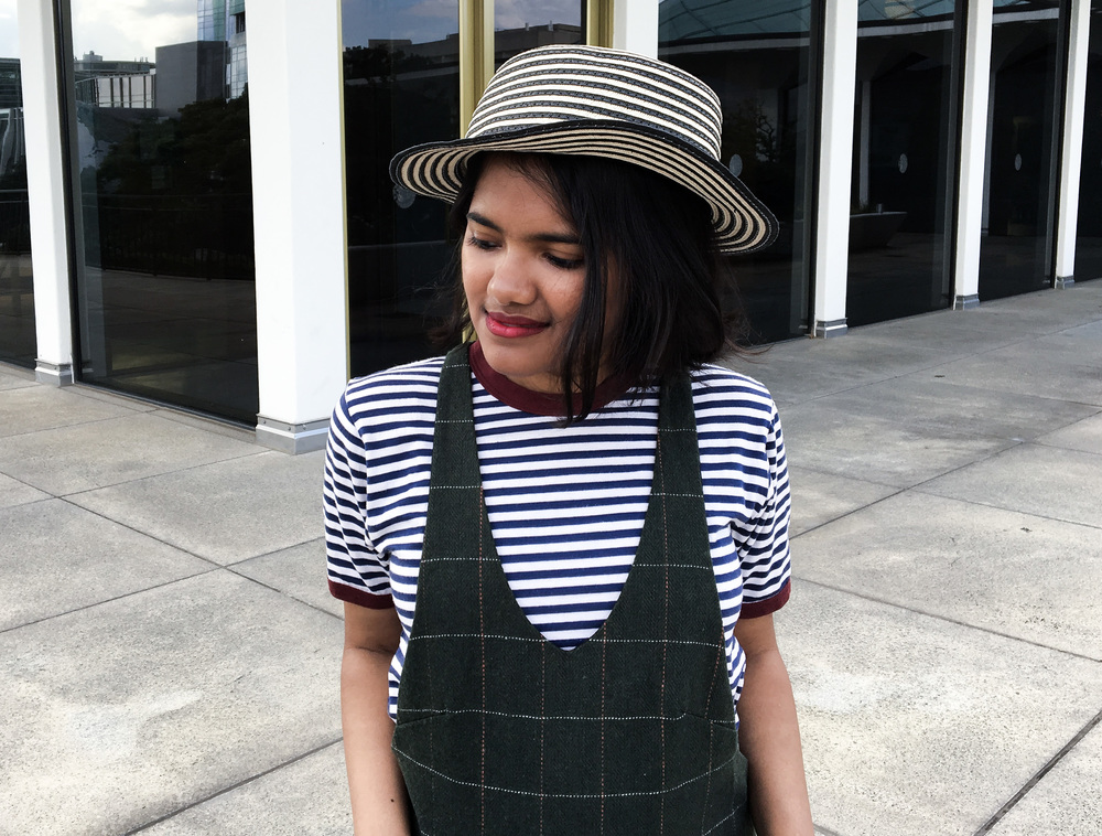 Olive Pinafore and Striped Ringer