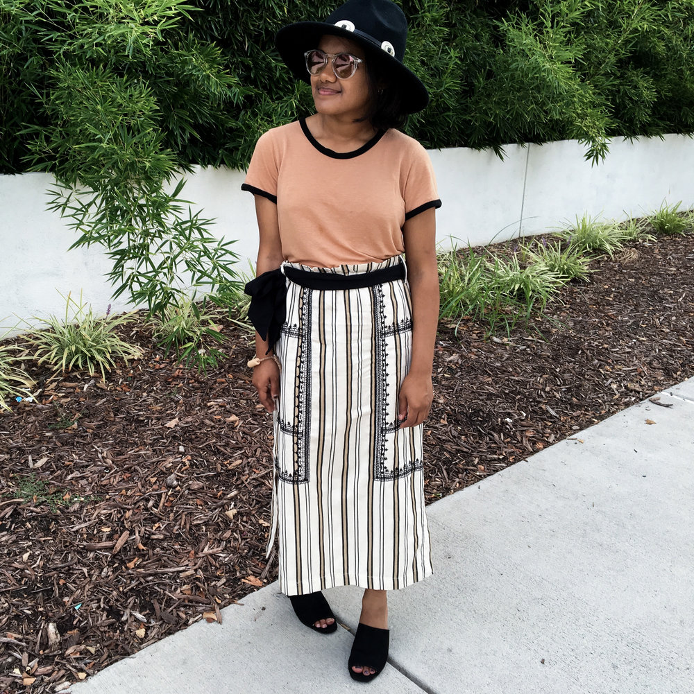 Reformation Tee and Zara Statement Midi Skirt