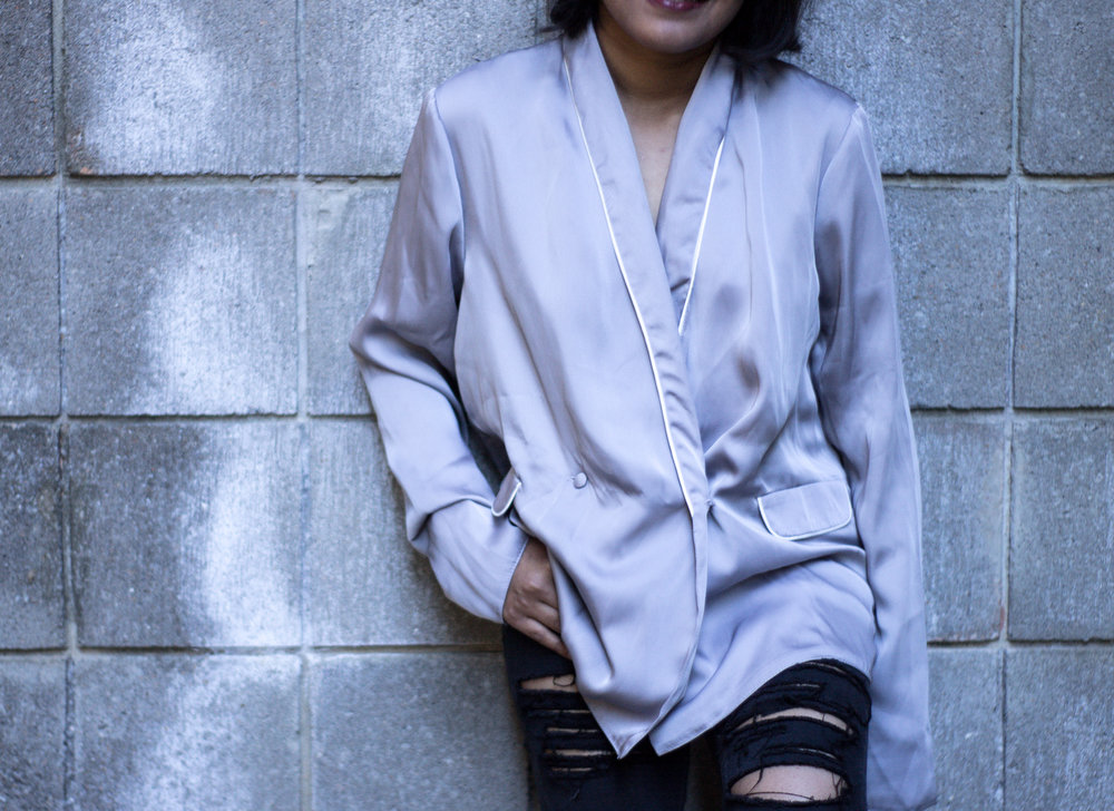 Asos Grey Satin Pajama Top