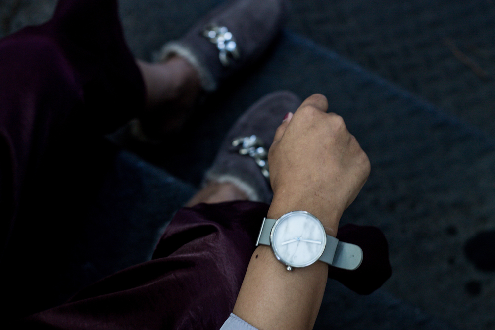 Aark Collective Marble Watch with Jeffrey Campbell Apfel Loafers and Missguided Burgundy Satin Pants
