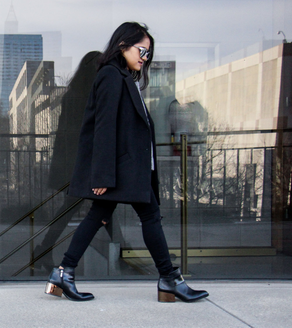 Petite Black Coat with Sam Edelman Rafa Bootie