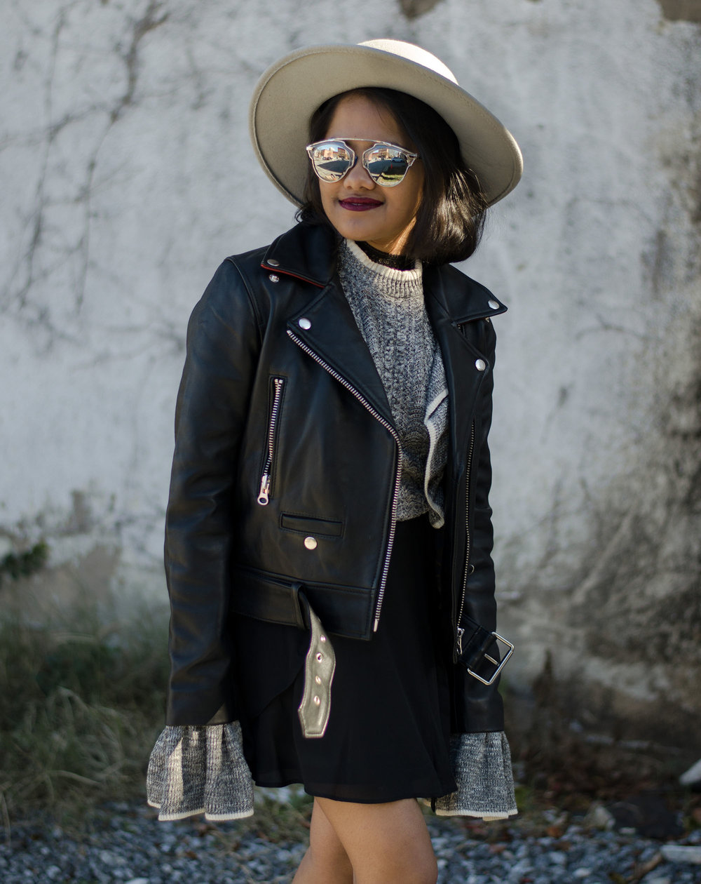 HM Grey Knit Sweater Bell Sleeves and Ruffles with Nasty Gal Guns of Brixton Leather Jacket and Grey Boater Hat