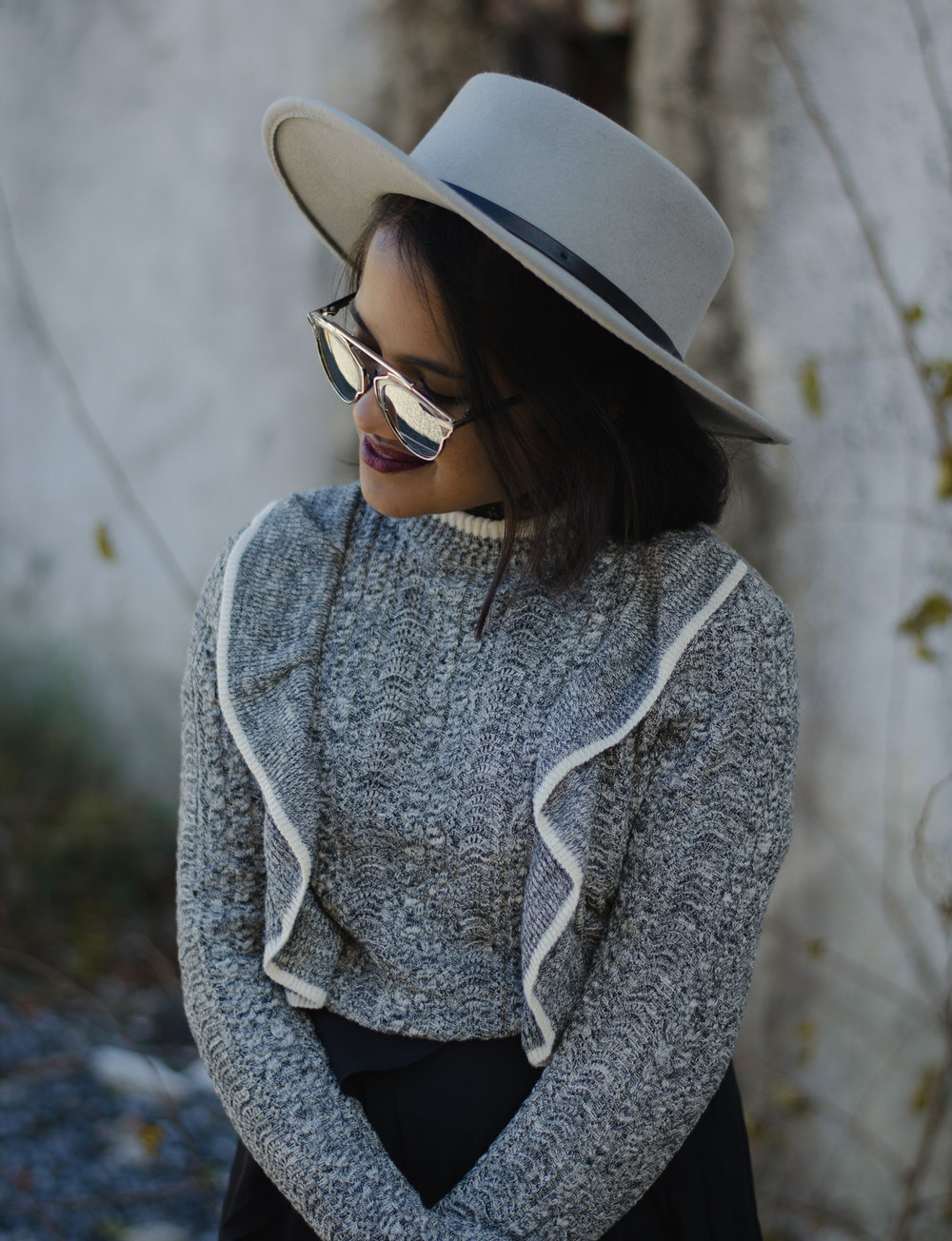Sole Society Grey Boater Hat and HM Bell Sleeve Jumper