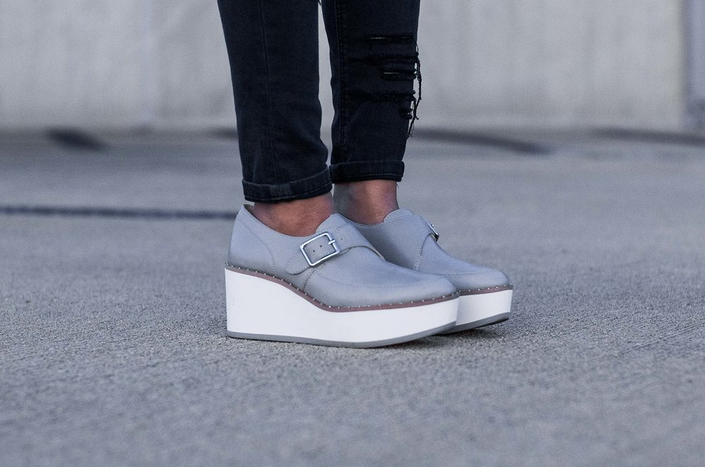 Zara Grey Bluchers Platform Sneakers