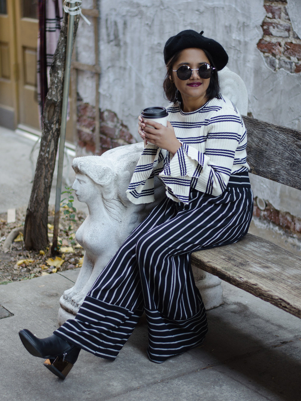 Zara Striped Bell Sleeve Sweater & Nasty Gal Striped Cropped Pants