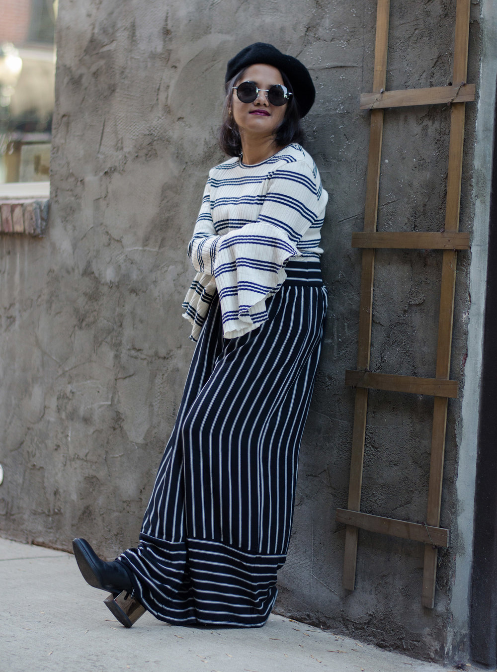 Zara Bell Striped Shirt and Nasty Gal Striped Crop Pants