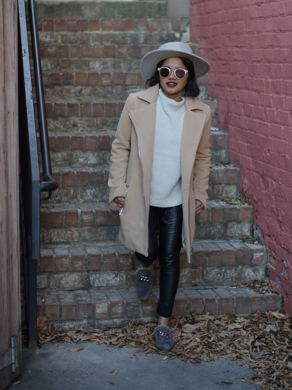 Grey Funnel Neck Seater & Leather Leggings with Jeffrey Campbell Apfel Fur Loafers and Missguided Petite Camel Biker Coat