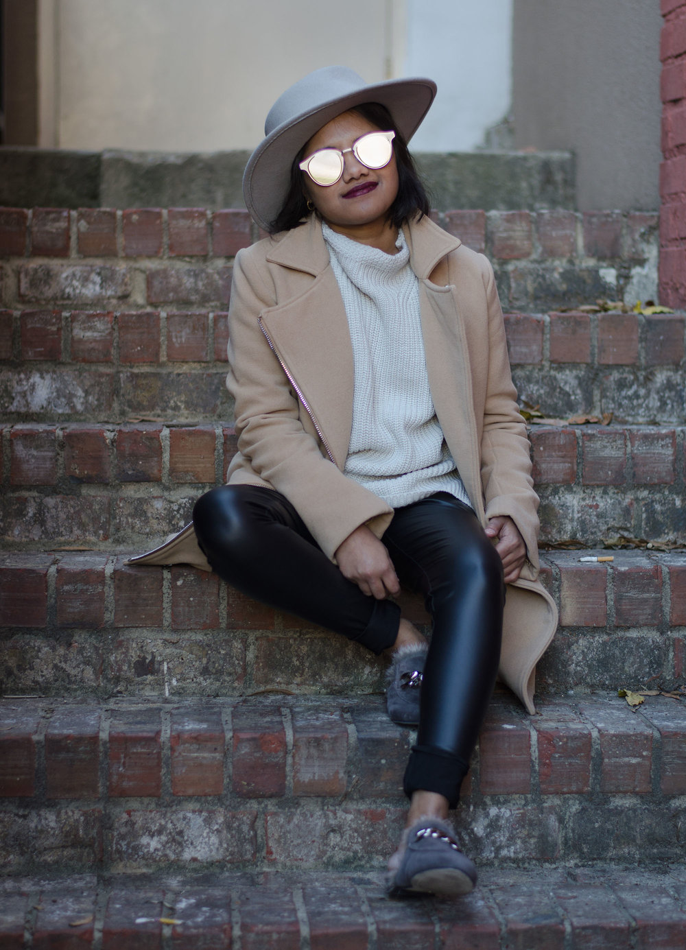 Grey Funnel Neck Seater & Leather Leggings with Jeffrey Campbell Apfel Fur Loafers
