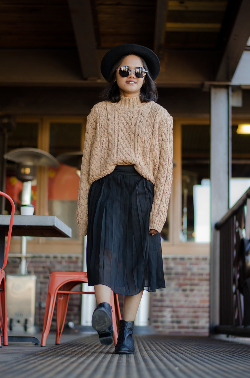 Threadsence Camel Sweater and Black Pleated Midi Skirt