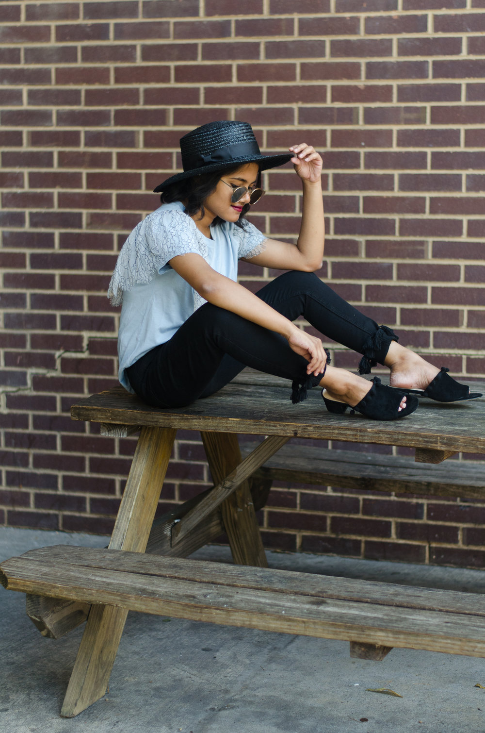 Topshop Lace Ruffle Shirt Paired With Tassel Hem Petite Jamie Jeans, Lack of Color Spencer Noir Hat and Raye Camille Pom Pom Mules