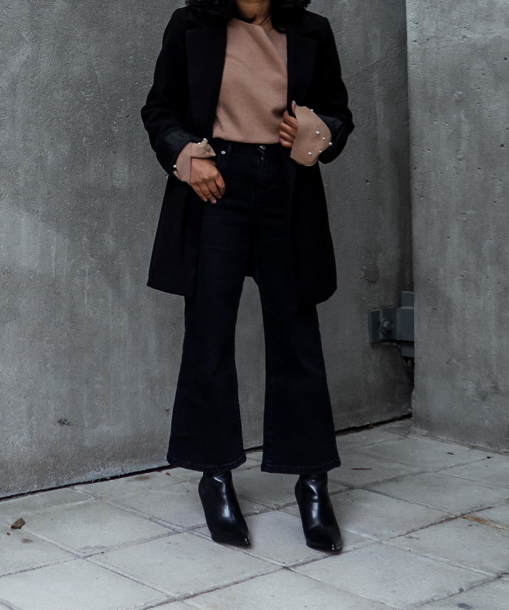 Topshop Petite Kick Flares & Asos Petite Coat with Zara Pearl Camel Sweater and Kendall + Kylie Finley Boots
