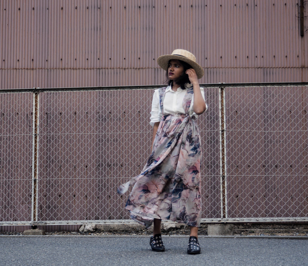 Lost Ink Floral Suspender Midi Skirt and Reformation Top