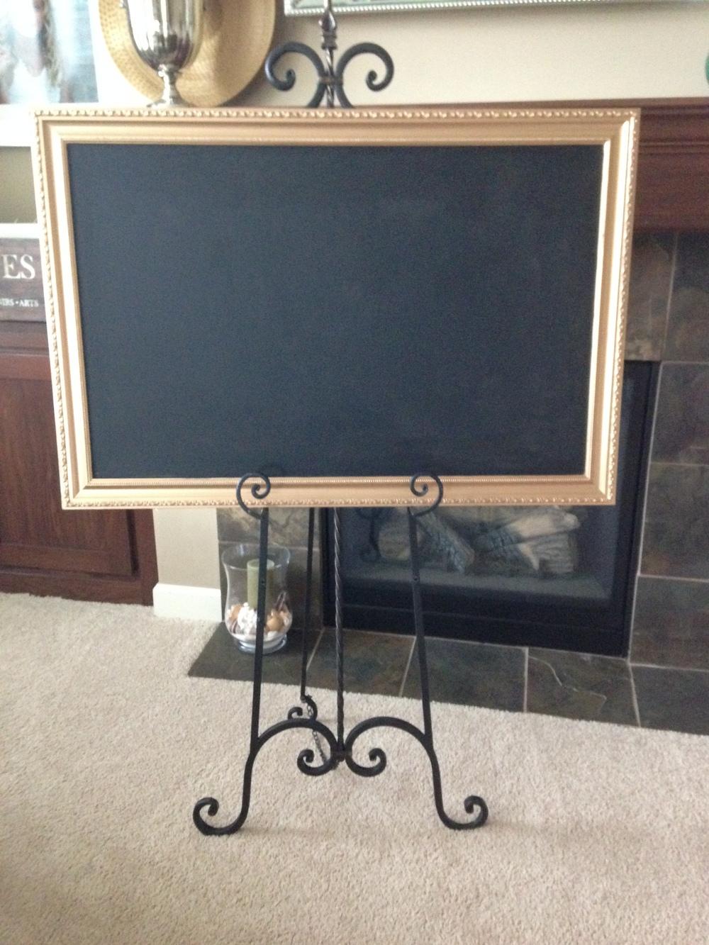 Gold Ornate Framed Chalkboard/Easel  \                  $35.00