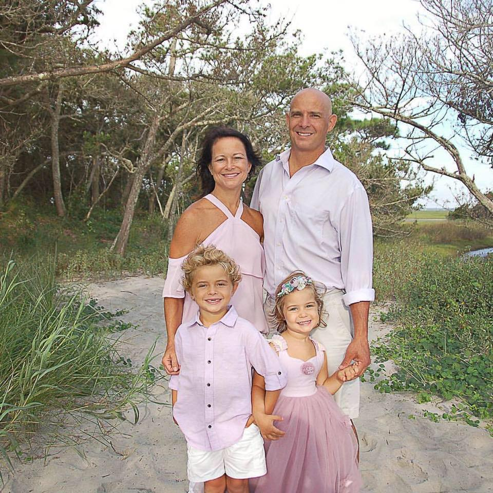 Dr. Will Youngblood with his family on Folly Beach.