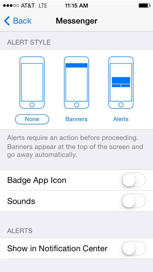 iOS Notifications Settings