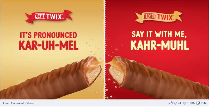 Since when was it not encouraged to eat both Twix? Smh.