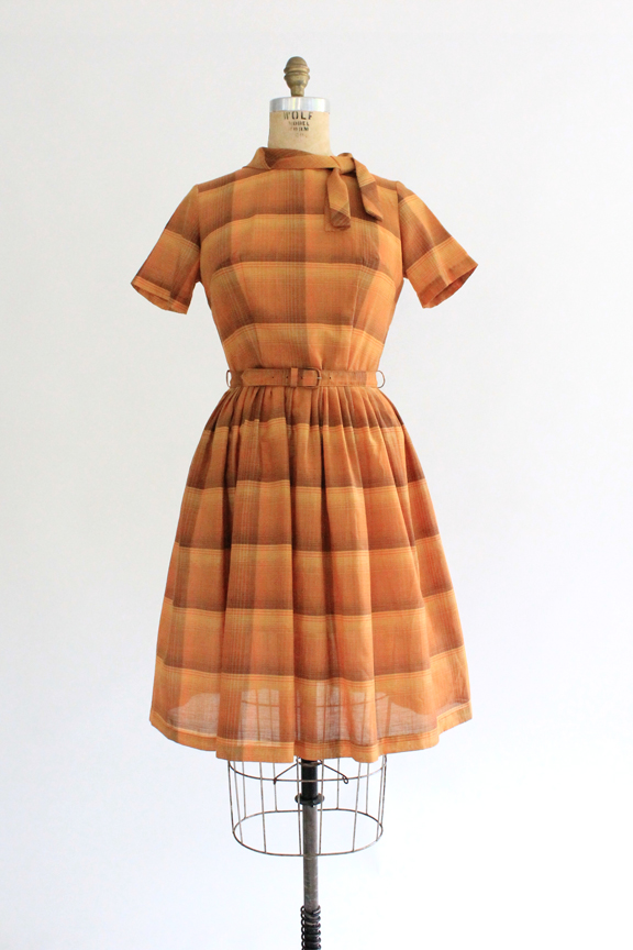 vintage 1950s burnt orange plaid dress