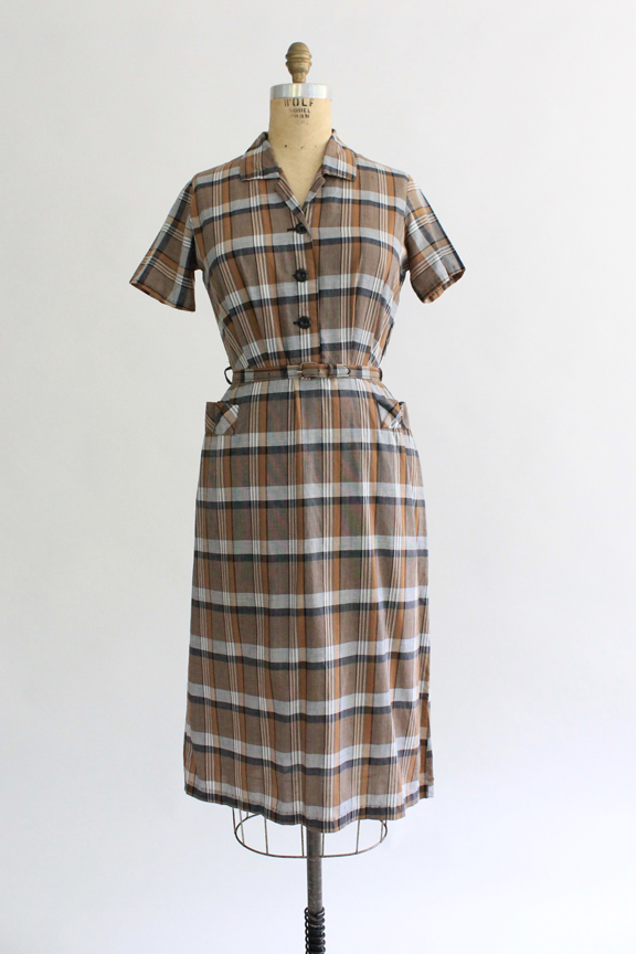 vintage 1950s brown plaid day dress