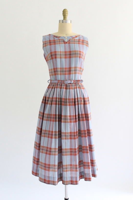 vintage 1950s plaid schoolgirl dress