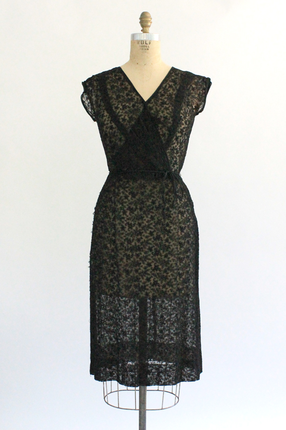 vintage 1960s sheer lace cocktail dress