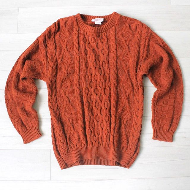 "$20 + s&h vintage 1970s long cable knit sweater, rust orange, soft material, stretch, good condition shows overall signs of wear, sz: small/medium bust: 36"" waist: 36"" bottom hem: 32"" to 36"" shoulders: 21"" sleeve length: 22"" total length: 26"" cuff circumference: 6.5"""