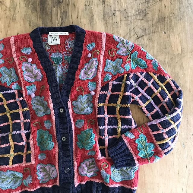 also loving this colorful hand knit cotton cardigan by I•V•Y . #vintage #handknit #cardigan #vintagesweater #eclectic #colorful #90s