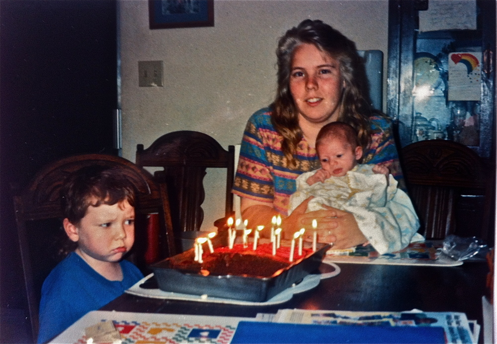 Ahhh, the Bush Senior years. That's Brenda with the power hair. She loved birthday parties and holidays. That's me in the blue, and you can just see my enthusiasm. Good times.