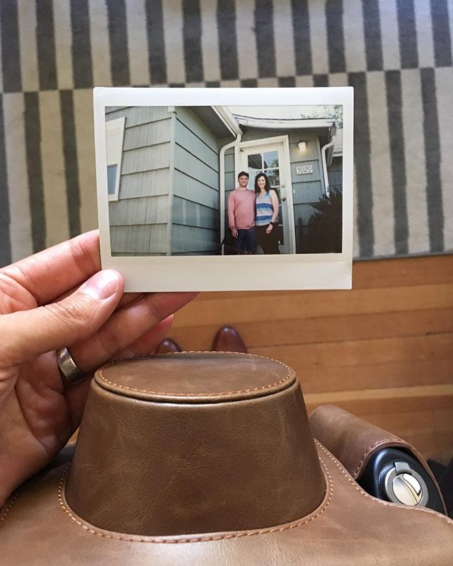 got myself a FujiFilm Instax 300 for my birthday. taking it out for its first real test drive this weekend for my brothers wedding!! This is them at their home in Seattle before driving up to Bellingham, WA. Woot Woot. #weddingweekend #meganandaaron2017 #instaxwide300 #fujifilm300 #instantfilm #analogphotography