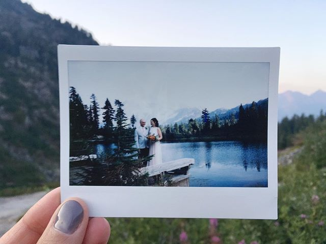 brother and newest sister got married at the most amazing place today 😍😍❤️#onlytookthem11years #fujiinstaxwide #mtbaker #picturelake #meganandaaron2017 #analogwedding #lovelove #analog #instantfilmsociety #instantfilm