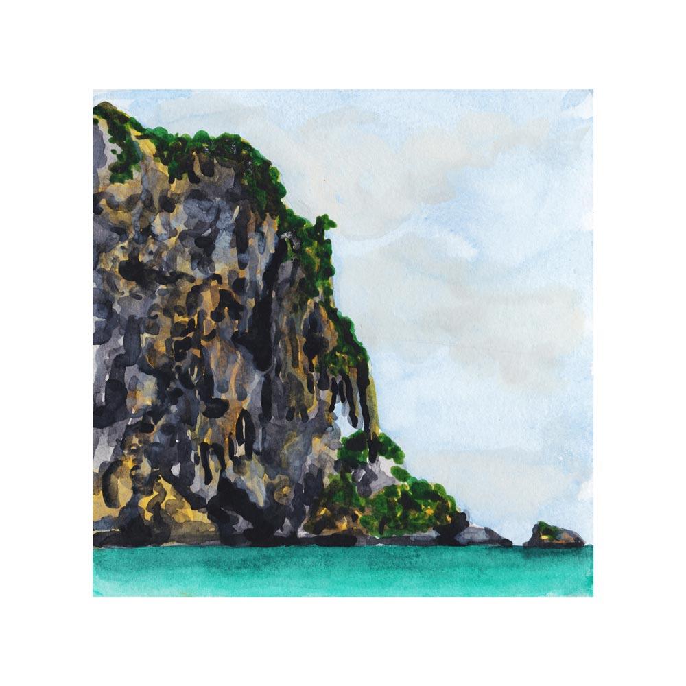 Railay, Thailand. Watercolor. 2017.