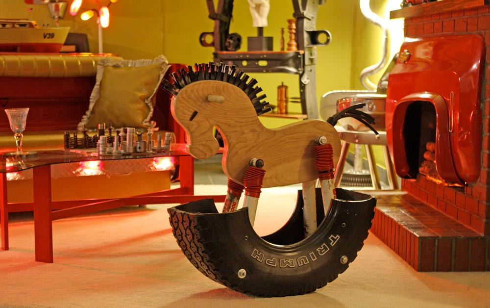 Rocking horse design and fabrication.  Off-roading  exhibit at School of Visual Arts gallery utilizing recycled monster trucks parts to create living room. 2010.