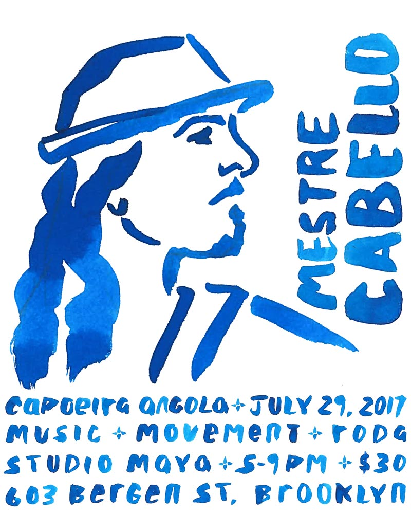 Poster design for capoeira workshop in Brooklyn, NYC. 2017.