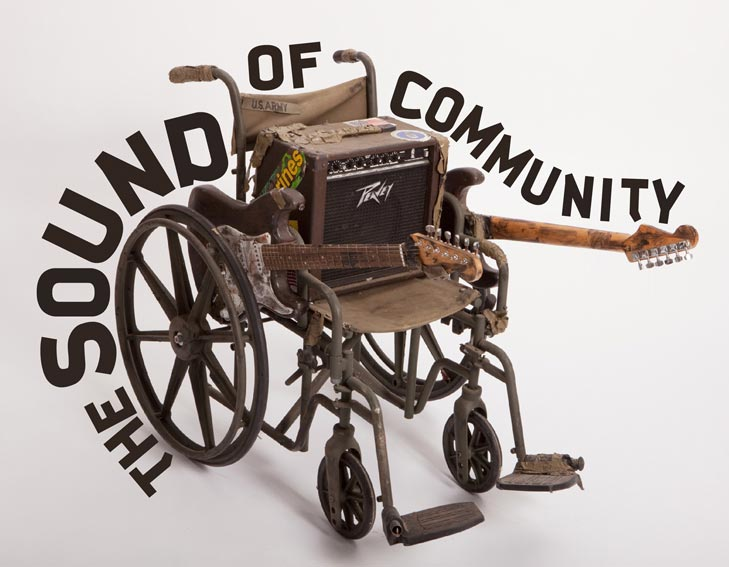 Sculpture and poster design. The Sound of Community is a social initiative where underserved members of the community collaborate together and with professional musicians. 2011.