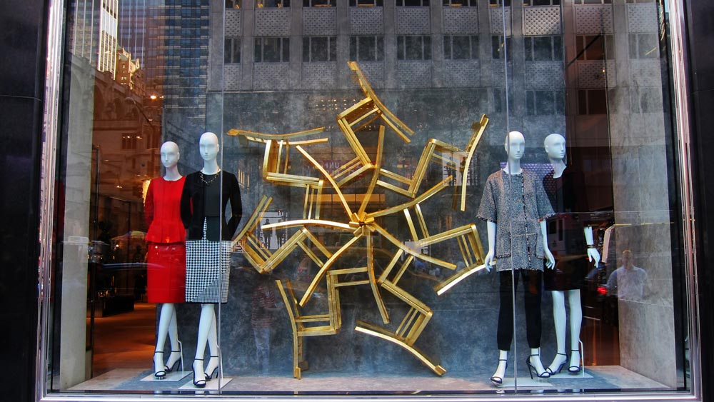 Window display fabrication for St. John in New York City. Design by Burke & Pryde. 2014.