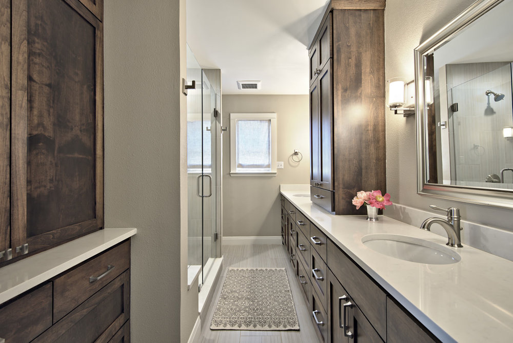 Both bathrooms were completely refinished with new cabinetry, tile, lighting mirror and accessories.