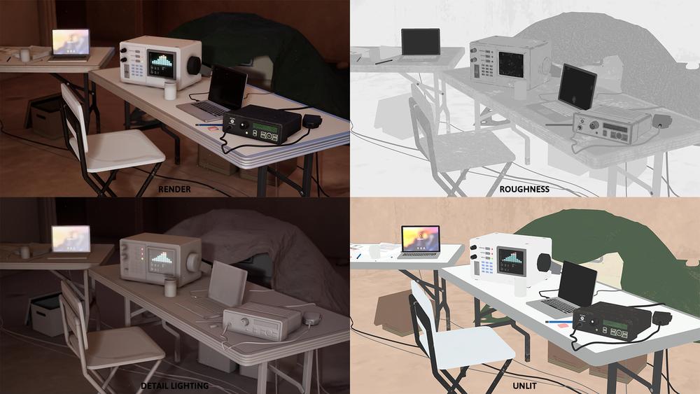 Lab Split (Clockwise from Top Left) Final Render, Roughness, Unlit, Detail Light/Emissive