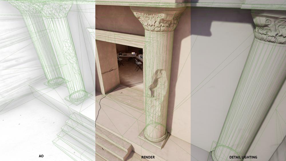Facade Wireframe. From left: AO, Render, Detail Lighting