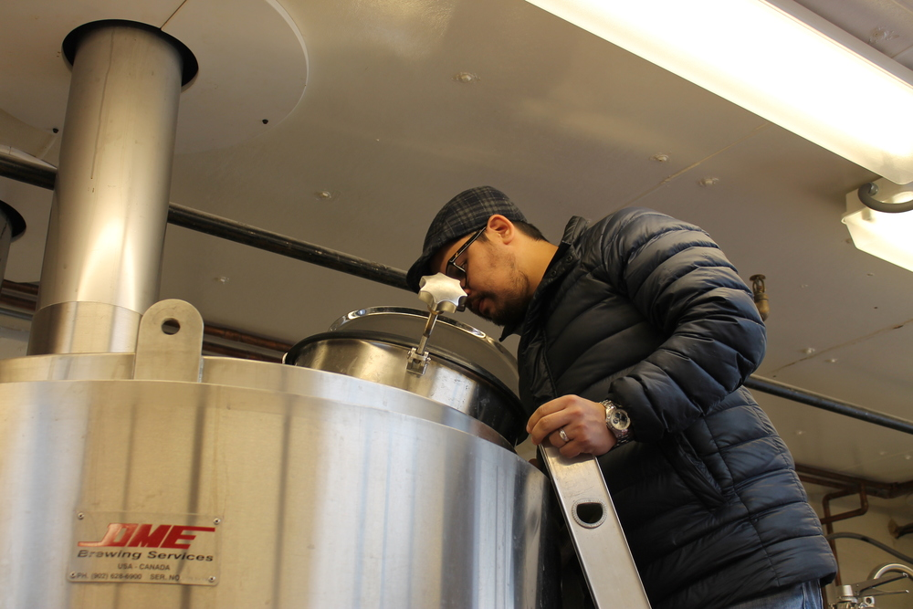 Checking out the boil. The smell was amazing.