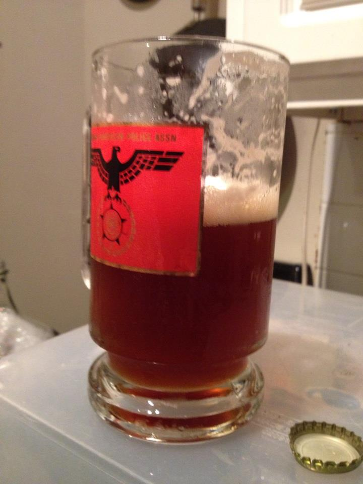 The first glass of the first beer I ever made. Kev's Rugged Good Looks Irish Red.