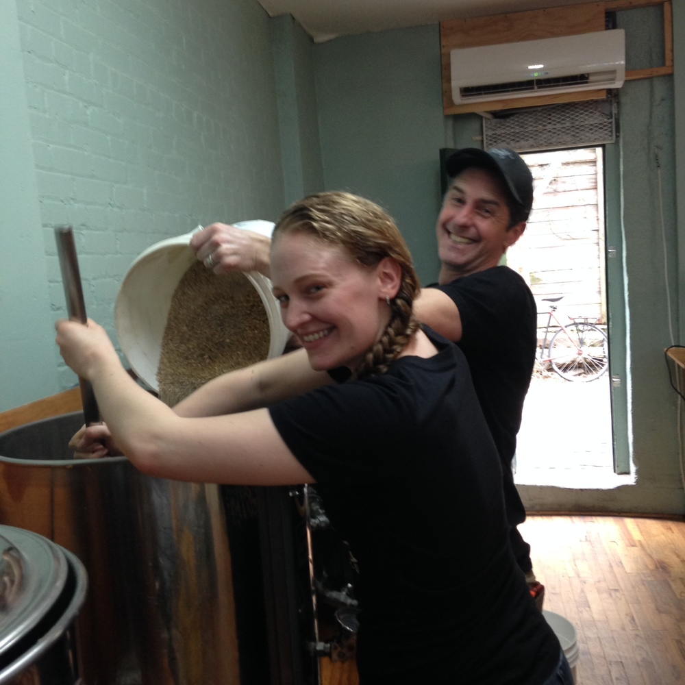 Katie Sloan and Ethan Long of Rockaway Brewing Co. mash in for their collaboration dark mild.