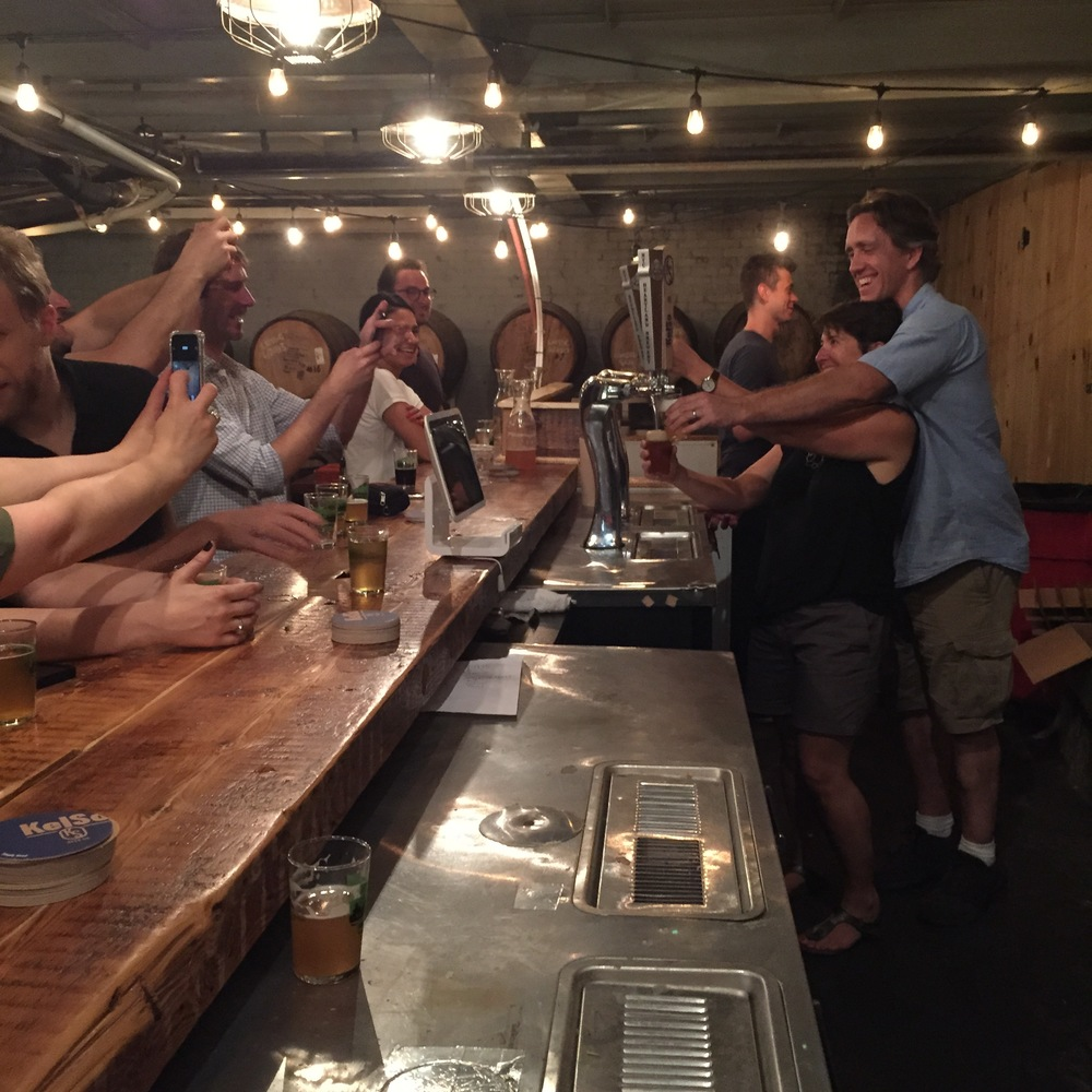 Sonya  Giacobbe and Kelly Taylor pouring beer at the soft opening of the KelSo Tap Room in July.