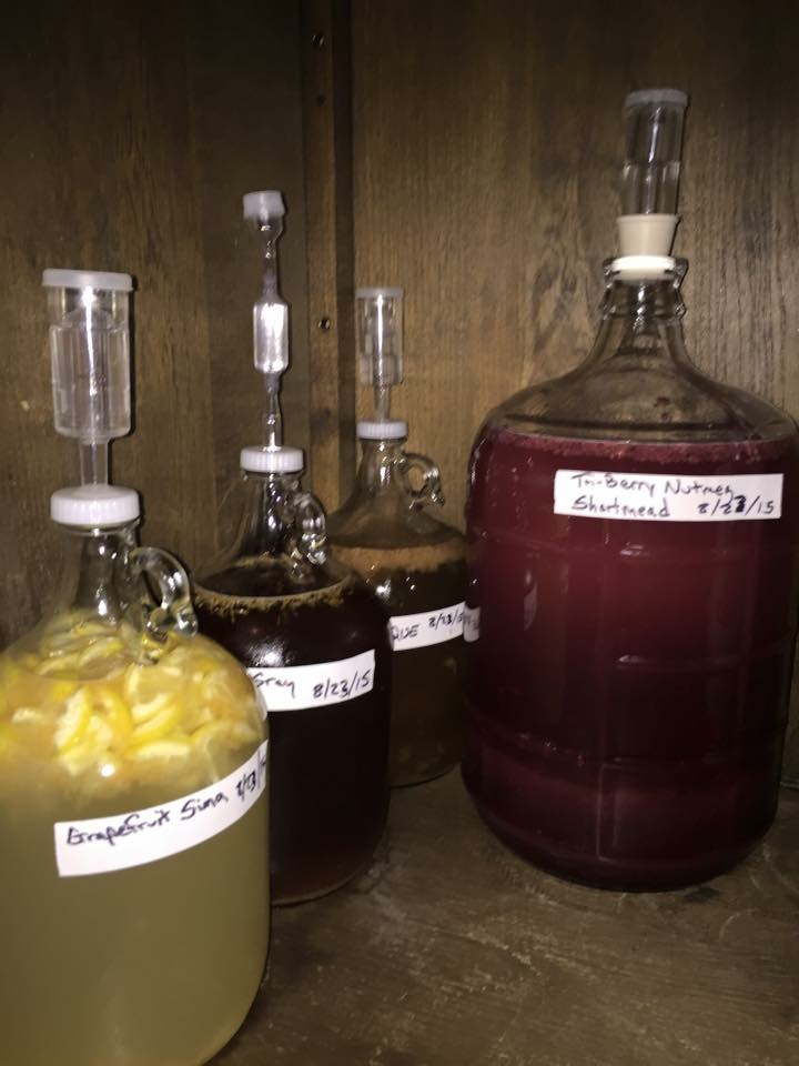 "(l. to r.) Grapefruit Sima, Earl Grey Tea with Lemon Zest, Tamarind ""Pulque"", Berry Nutmeg Short Mead Fermented with Saison Yeast."