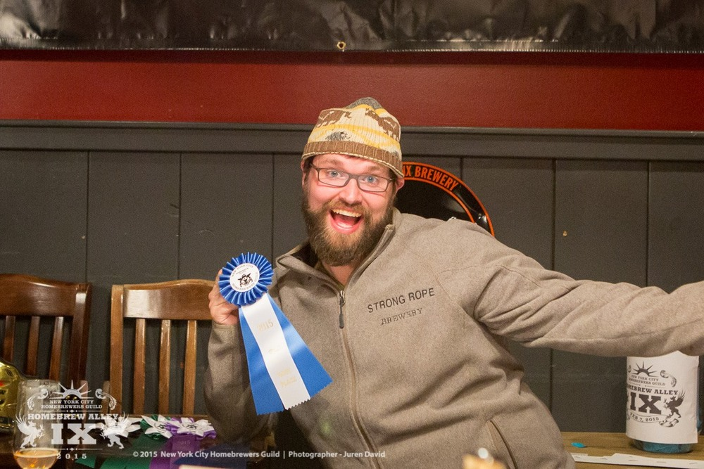 Jason Sahler, of recently opened Strong Rope Brewery, taking first in his category at last year's competition. (Photo: NYC Homebrewers Guild Facebook page)