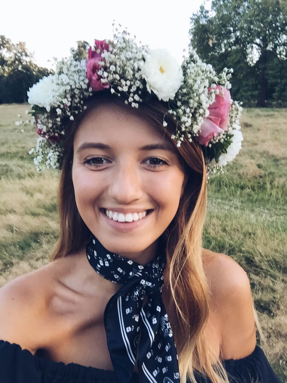 Happy me when I got to wear Mimi's gorgeous hand-made flower crown