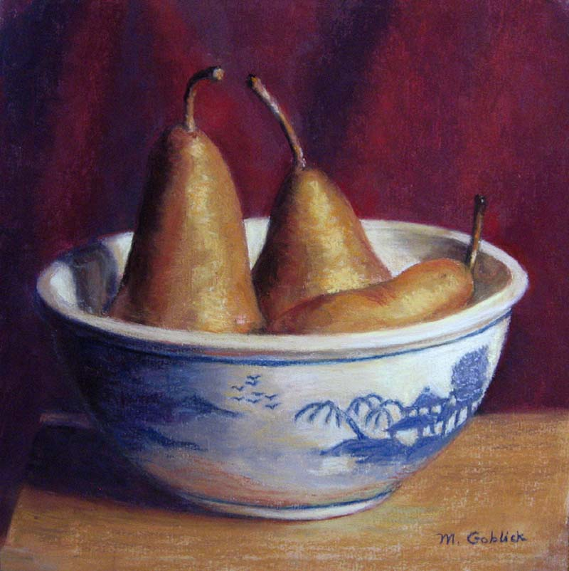 Blue Willow and Pears-by Maryann Goblick.jpg