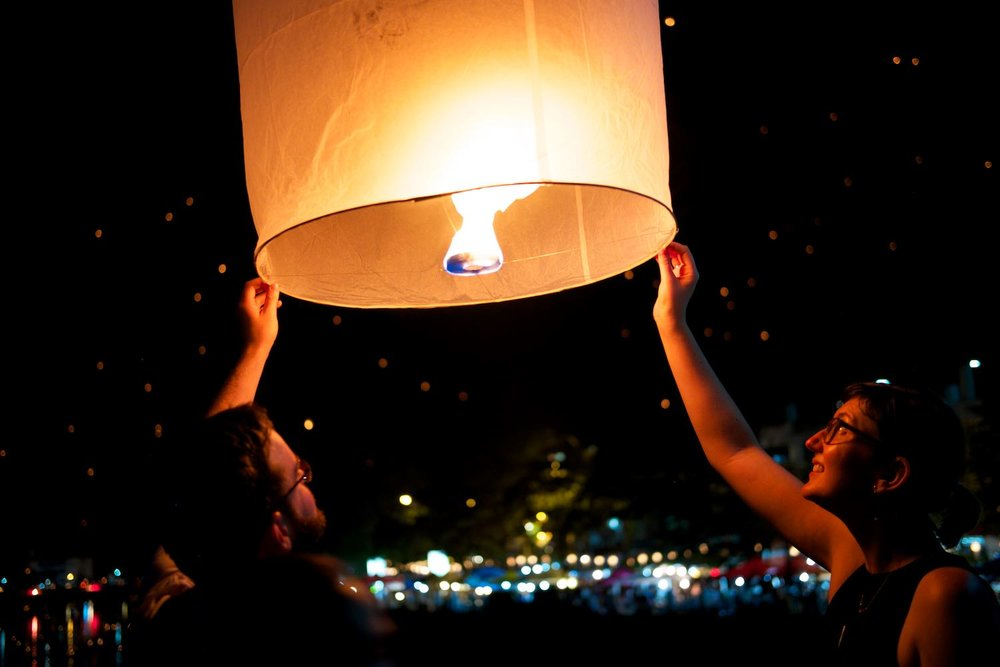 G and I lighting our lantern