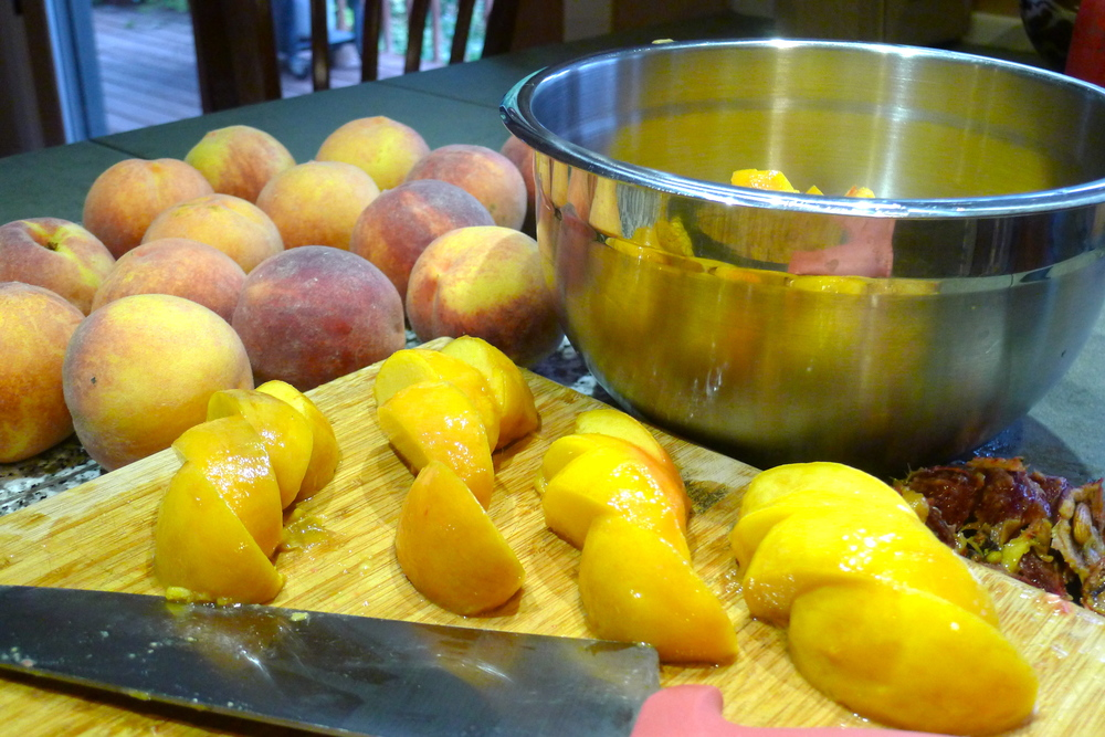 Late-summer Colorado peaches, ready to make chutney