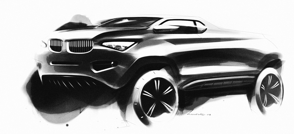 Pretty old sketch for a BMW pickup. I kinda like that idea, in part because it feels like something that would be quite different from the line-up today.