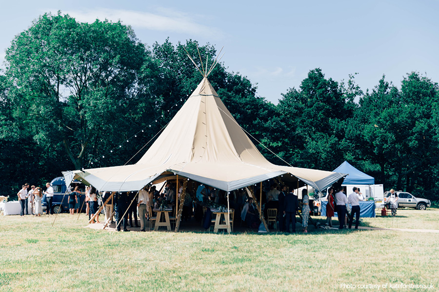 Harry & Collette's tipi wedding at Phoenice Fields
